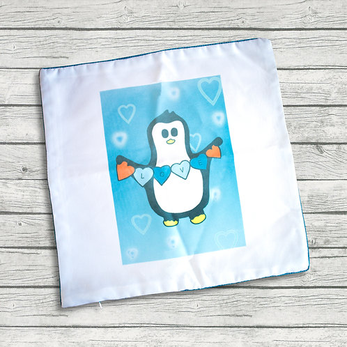 Love and hearts, cushion cover, penguin, blue