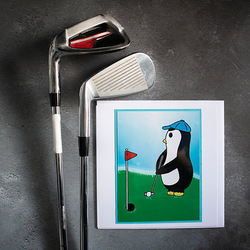 Penguin playing golf, golf course, greeting card