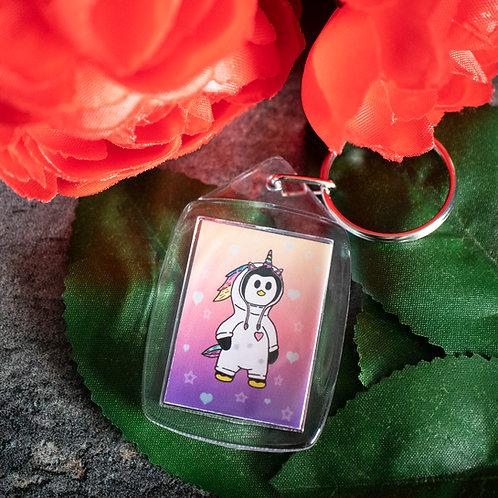 Penguin dressed as a unicorn, cute, key ring