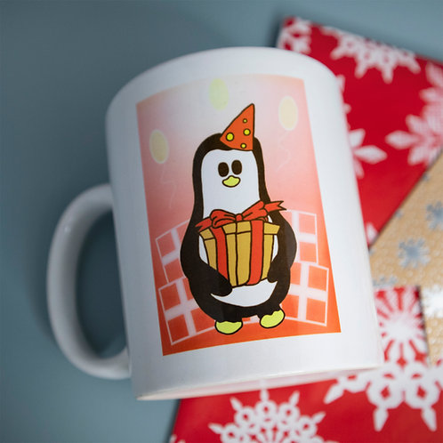 Penguin with present, red, mug