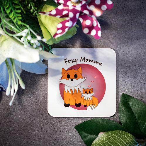 Foxy Momma, fox and baby, coaster