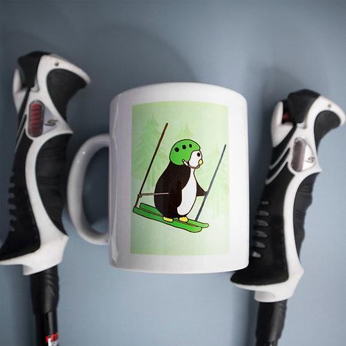 Skiing penguin, downhill, ski racing, mug