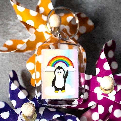 Rainbow penguin, positivity, key ring
