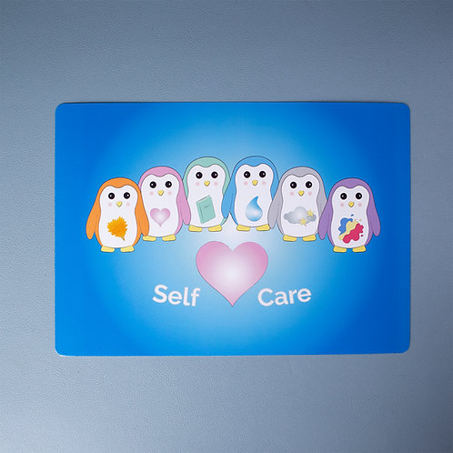 Self care, penguins, A5, art print