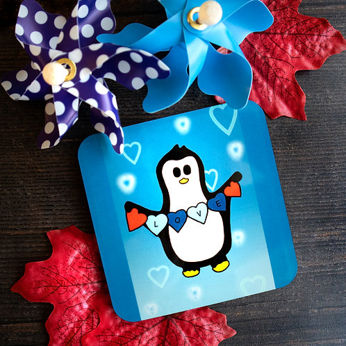 Penguin love, blue, hearts, coaster