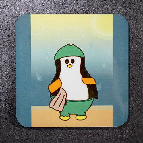 Swimming penguin. arm bands, beach life, coaster