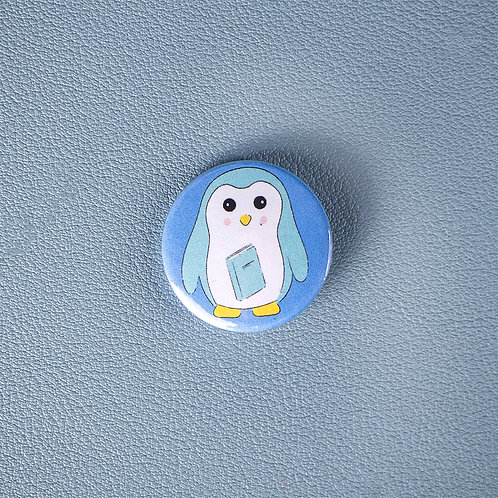 Self care, reading penguin, pin badge