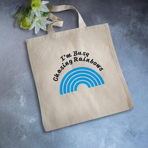 Chasing rainbows, tote bag, vinyl