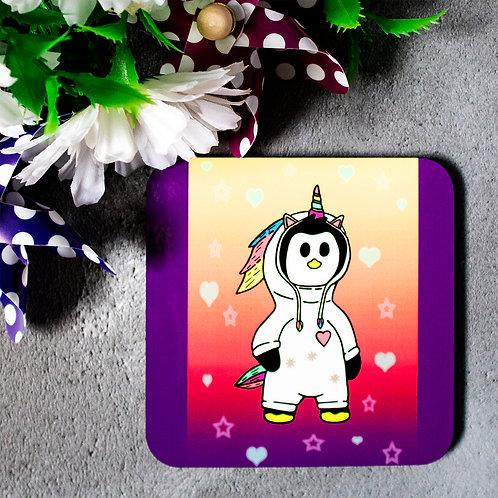 Penguin dressed as a unicorn, cute, funny, coaster
