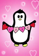 Crafty Penguin Pink Love Design
