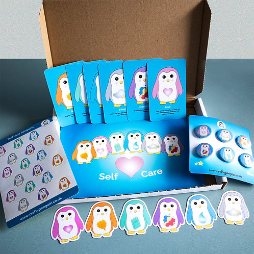 Self care penguins, mindfulness, gift box full collection
