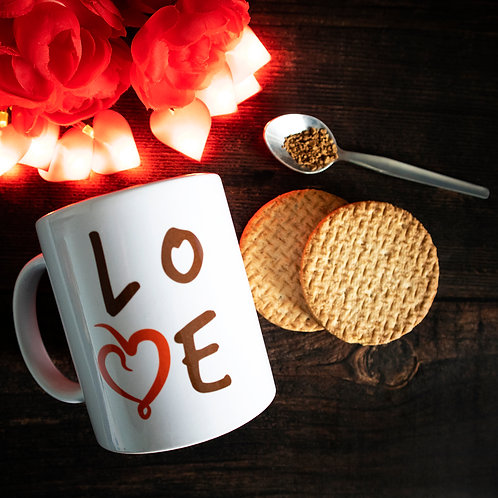 Love mug, red heart, word art