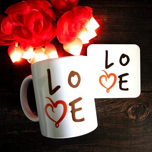 Love word art, mug and coaster, matching set