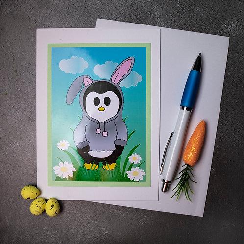 Easter bunny, rabbit, penguin, card