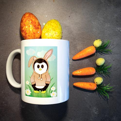 Easter mug, penguin, bunny