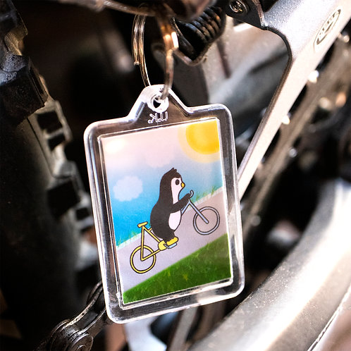 Cycling penguin, cycle race, sports, key ring
