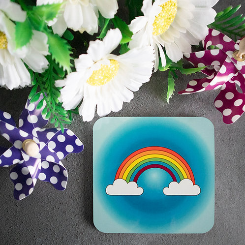 Rainbow coaster, beer, drink, mat