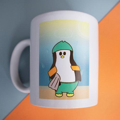 Swimming penguin, beach, mug