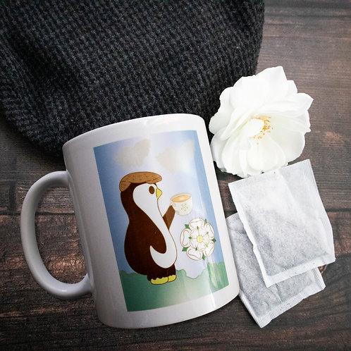 Yorkshire mug, penguin, white rose