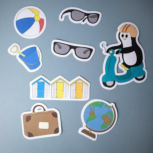 Travel stickers, matte stickers, penguin stickers