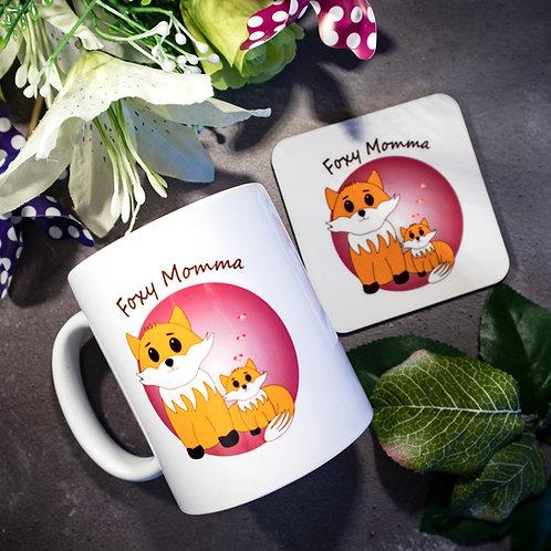 Foxy Momma, mug and coaster, matching set