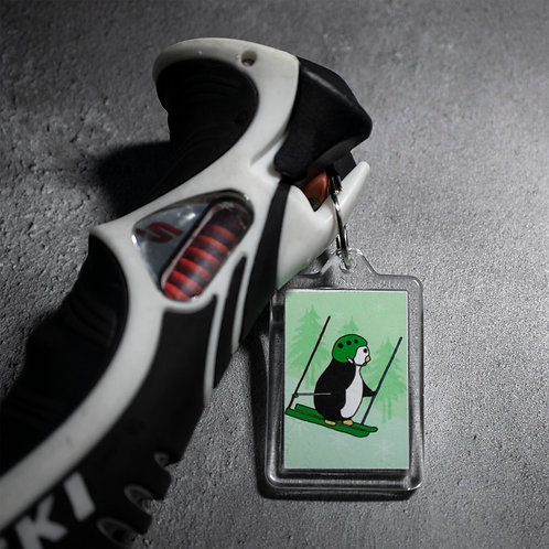 Downhill skiing, penguin, key ring