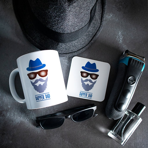 Dapper Dad, mug and coaster, matching set