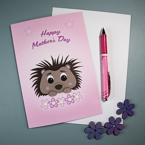 Hedgehog, Mothers Day, greeting card, pink