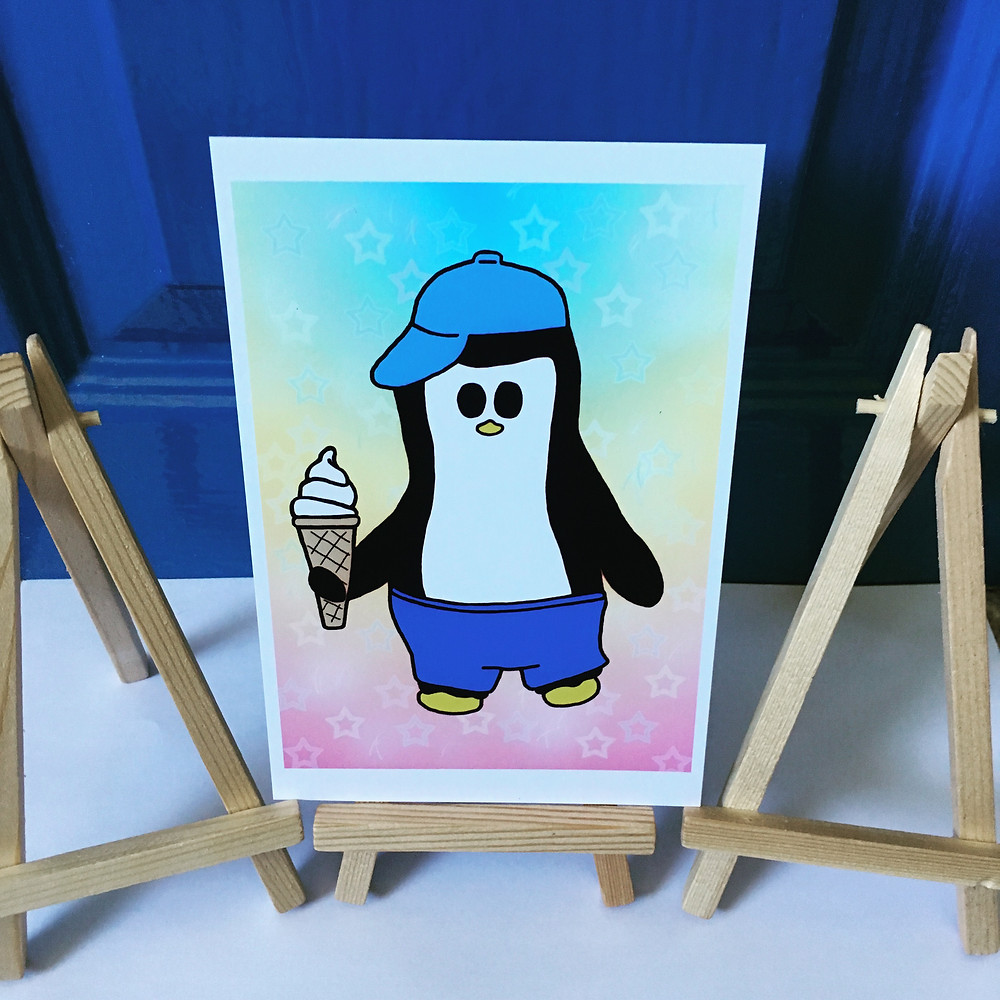 The image shows the Crafty Penguin Ice Cream design.