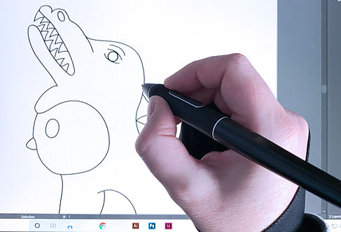Drawing the dinosaur colouring page