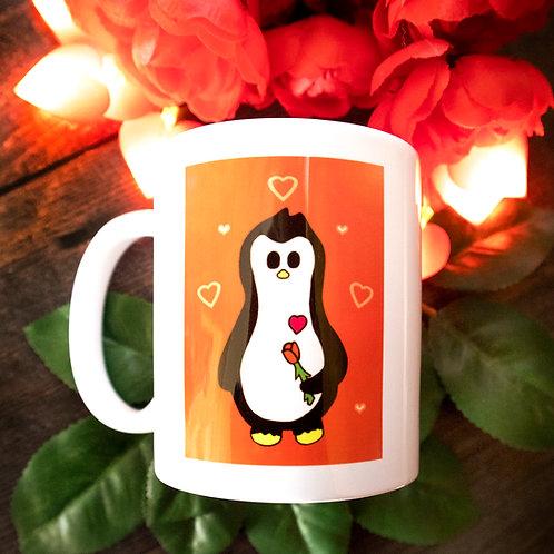 Red rose penguin mug, romance, love, gift