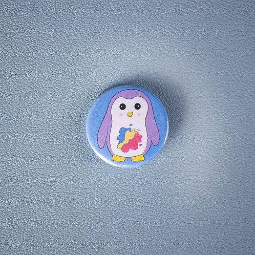 Self care, creativity penguin, pin badge