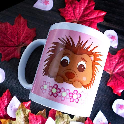 Hedgehog mug, cute, pink, illustration