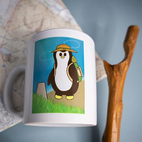 Hiking penguin, adventure, outdoors, mug