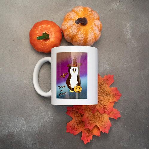 Spooky penguin mug, Halloween, trick or treat
