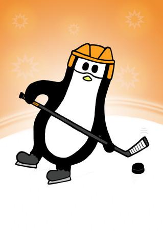 Crafty Penguin Ice Hockey Orange Design