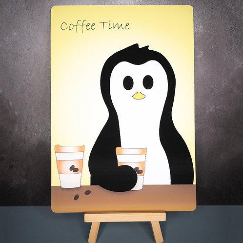 Coffee time print, penguin art print, coffee