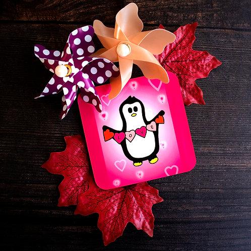 Penguin love, pink hearts, romance, coaster