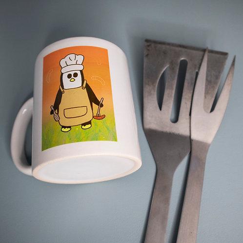 BBQ mug, penguin, funny, ceramic