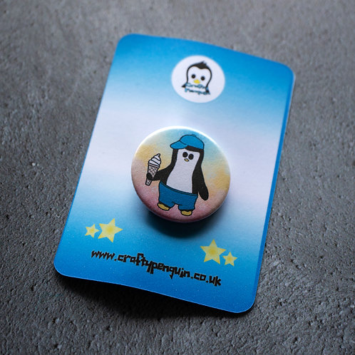Penguin eating, ice cream, pin, badge
