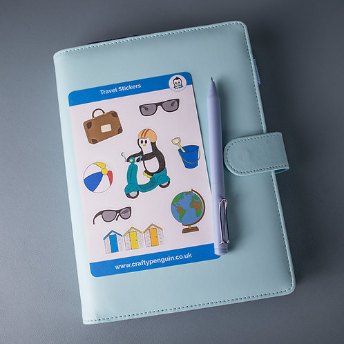 Travel penguin stickers, planner sticker sheet