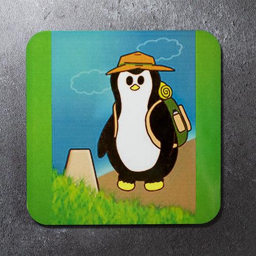 Penguin hiking, walking, beer mat, coaster