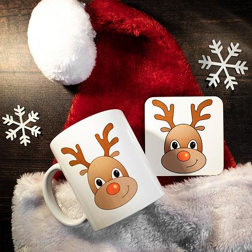 Rudolph Reindeer,  Christmas, Mug and Coaster