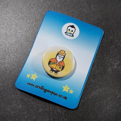 Hawaiian shirt, funky penguin, pin badge