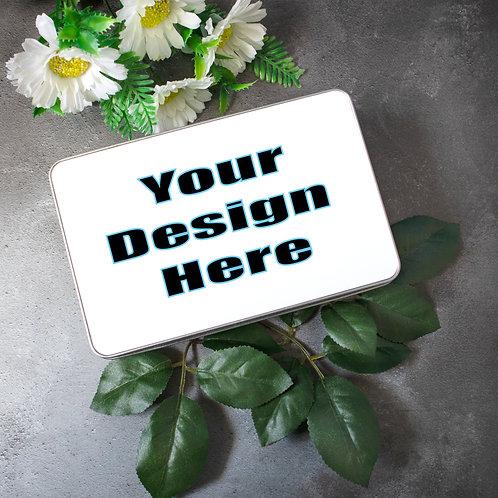 Custom design metal tin, photo gift, personalised