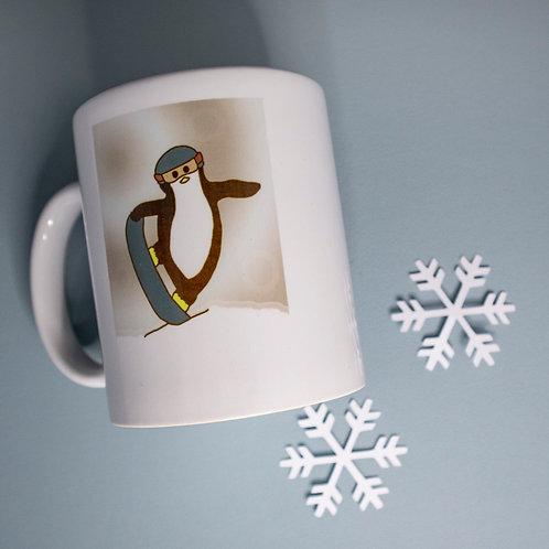 Snowboarding penguin, winter, snow, mug