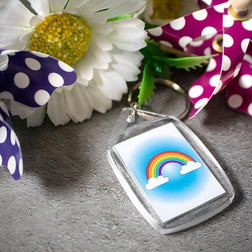 Rainbow illustration, better days, key ring