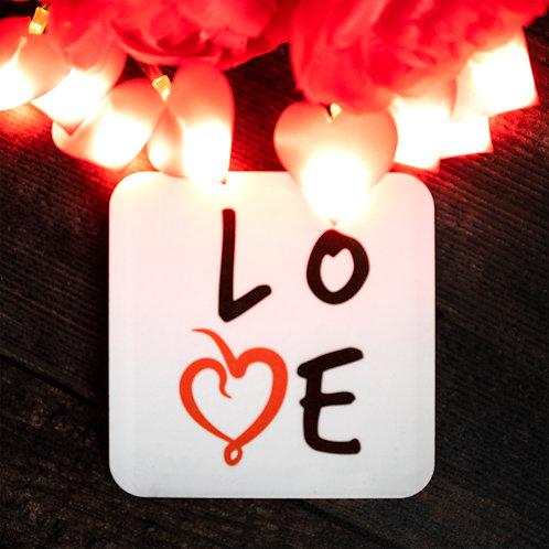 Love word art, red heart, coaster