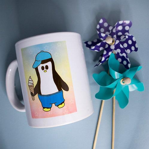 Penguin with ice cream, cute, summer, mug