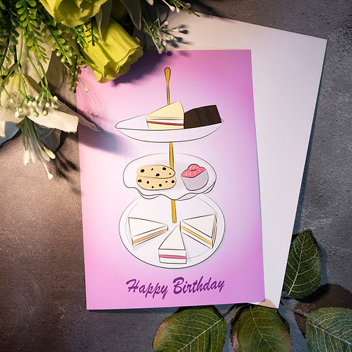 Afternoon tea, pink, birthday, greeting card